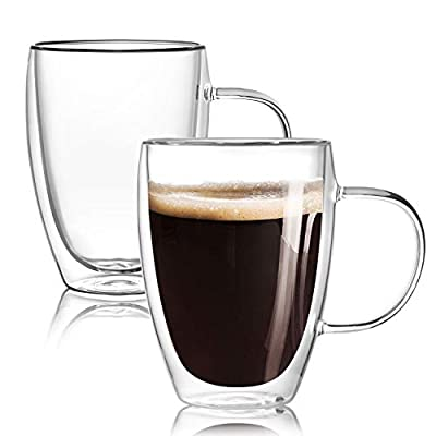 [2-Pack,12 Oz] Double Wall Glass Coffee Mugs with Handle,Insulated Coffee Glass,Clear Espresso Cups,Glass Cappuccino Cups,Tea Cups,Latte Cups,Beverage Glasses,Heat Resistant,Dishwasher Microwave Safe