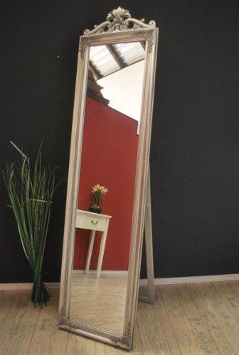 Standspiegel 180 cm Spiegel antik Silber barock Landhaus Wandspiegel