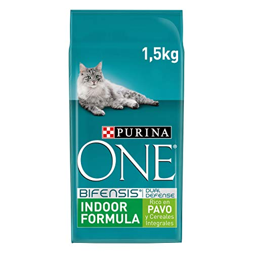 PURINA ONE Bifensis Pienso para Gatos de Interior Pavo y Cereales 6 x 1,5 Kg