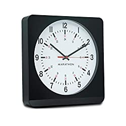 Marathon Silent Non-Ticking Analog Wall Clock with Warm Amber Auto Back Light. Easy to Read Classic Dial with 12 and 24-Hour Scale - Batteries Included - CL030057BK-WH1 (Black Case/White Dial)