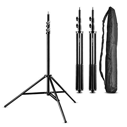 Walimex Pro WT-806 Juego de 3 Soporte de luz (con amortiguación de muelle, aluminio máximo 256 cm, carga de 6 kg, de aluminio, soporte para reflector, flash, softbox de estudio) con bolsa