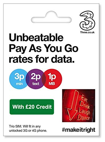 Three UK PAYG Trio SIM with £20 Credit + International Calling Option - (Love2surf RETAIL PACK)