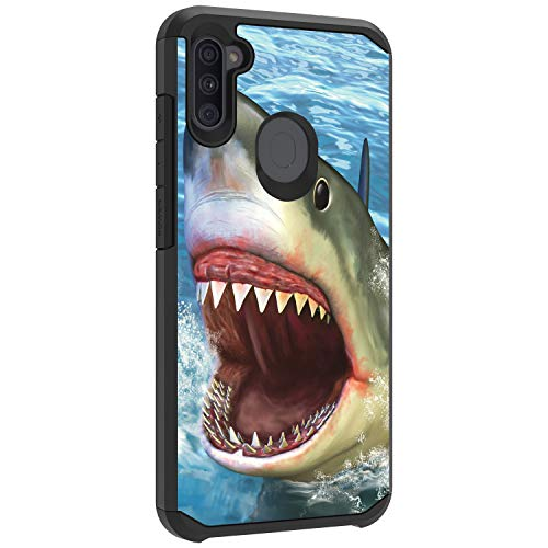 TurtleArmor | Compatible with Samsung Galaxy A11 Case (2020) | A115 | Shockproof Hybrid Impact Armor Slim Case Sea Ocean - Shark Attack