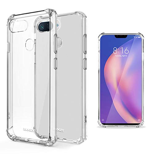 Moozy Transparent Silikon Hülle für Xiaomi Mi 8 Lite, Mi 8 Youth, Mi 8X - Stoßfest Klar TPU Hülle Handyhülle Schutzhülle