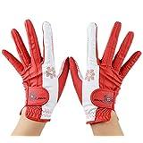 PREMINNO(プレミーノ) ゴルフ グローブ 手袋 レディース 両手 フィット感 耐久性 デザイン性 (レッド, 20 (17.0cm-17.5cm))