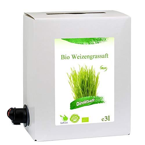 3 Liter Bio Weizengrassaft - 3 Monate Bio Weizengras Saftkur - ökologischer Weizengras Saft in Premiumqualität in der praktischen 3 Liter Bag in Box Saftbox - nach Anbruch ungekühlt 3 Monate haltbar