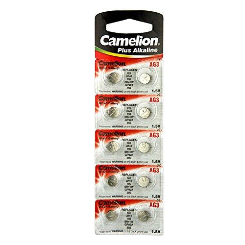 10 Camelion AG3 / LR41 / 192 / 392 pile bouton longue durée de vie (date d'expiration marqué)