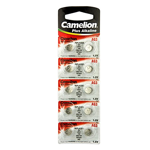 10 Camelion AG3 LR41 Knopfzelle Lang Verfallstag