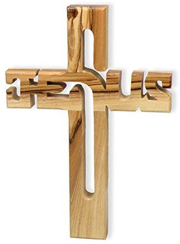 Christliche Geschenkideen °° Holzkreuz Jesus Olivenholz aus Israel, 10,5X 15cm