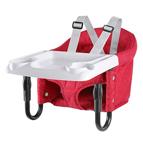 Hook On Chair, Portable Baby High Chair with Fold-Flat Storage and Tight Fixing, Attach to Fast Table Chair for Babies and Toddlers (Red)