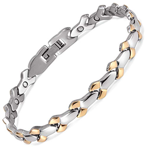 Rainso Women Ladies Magnetic Health Stainless Steel Bracelet Strong Magnets for Arthritis with Gift Bag+Free Removal Tool