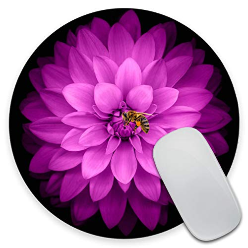 Amcove Watercolor Pink Flower Round Mouse Pad Custom Design Gaming Mouse Pad 7.9 x 7.9 x 0.12 Inch