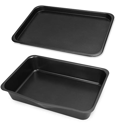 Antihaft-Backset - 7 Stück | Stapelbares Set | Bratpfanne, Kuchen & Laib Dose, Muffin Tablett, 2 Backbleche & Kühlregal | Spülmaschinenfest | M&W