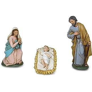 Ferrari & Arrighetti Figuras Belén: Nacimiento con 3 figuras – Colección Martino Landi para pesebre de 9 cm