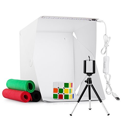 Mini Photo Studio Foldable LED Light Box 9.5 Inch,Portable Photo Studio Shooting Tent Kit Dimmable Mini Studio Photography Box with 4 Colors Backdrops,USB Cable,Tripod Stand Holder for Smart Phone