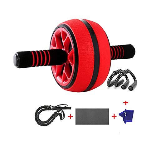 FU LIAN Bauchmuskel-Roller-Hauptbauch-Übungs-Ausrüstung, breiter Bauch-Bauch-Roller mit dem Widerstand-Band, passend für Anfänger-Frauen und Männer/Rot