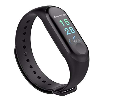 HUG PUPPY Smart Band Fitness Tracker Watch Heart Rate with Activity Tracker Waterproof Body Functions Like Steps Counter, Calorie Counter, Blood Pressure, Heart Rate Monitor LED Touchscreen (Black, Unisex)