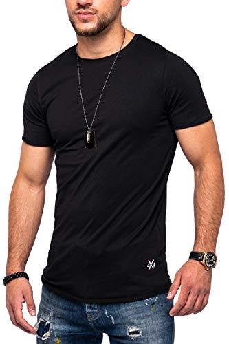 JACK & JONES Herren O-Neck T-Shirt Infinity Oversize Longshirt Casual Top (XL, Black)
