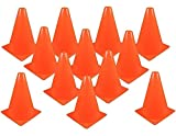 Kicko Traffic Cones Plastic 8 Inches - Pack of 12 Multipurpose Construction theme Party Sports Activity Cones for Kids, Outdoor and Indoor Gaming, and Festive Events