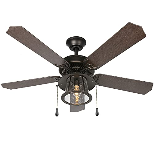 Hykolity 52 Inch Traditional Style Indoor/Covered Outdoor Ceiling Fan with Light Kit, Pull Chain Ceiling Fan with Lighting, Reversible Blades and Motor, UL Listed for Living Room, Bedroom, Damp Rated