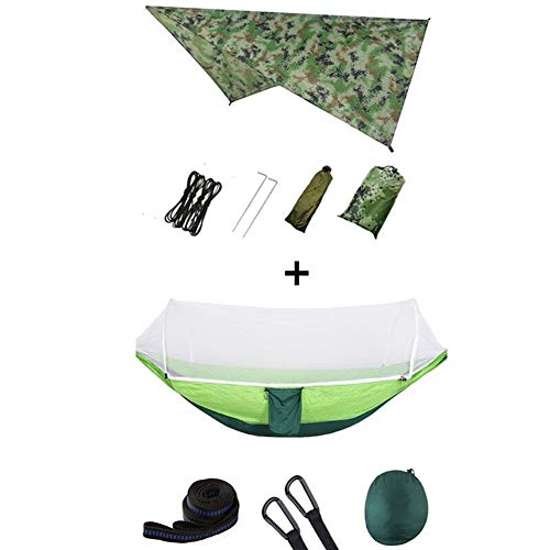 No-branded YJXCC Parachute Swing Hammocks Rain Fly Hammock Canopy Camping Stuff Pop-Up Portable Camping Hammock (Color : Camou and lightgreen)