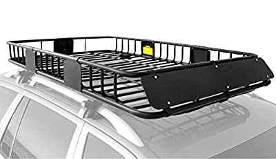 "XCAR Roof Rack Carrier Basket Rooftop Cargo Carrier with Extension Black Car Top Luggage Holder 64""x 39""x 6"" Universal for SUV Cars"