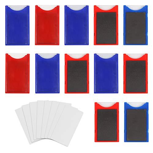 Matogle 20 portaetiquetas magnéticos con 40 tarjetas en blanco para tarjetas, etiquetas, expositores, almacenes, estanterías metálicas, estanterías metálicas para libros, azul y rojo