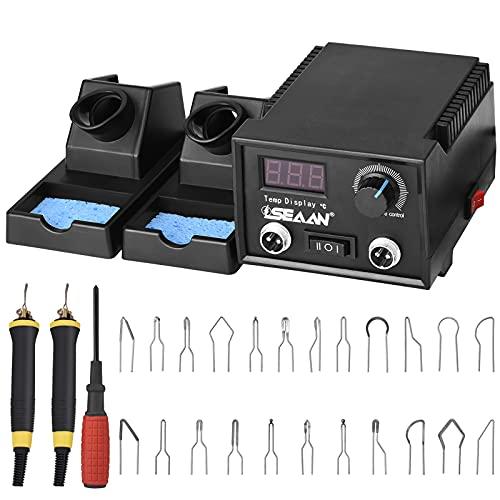SEAAN Macchina per pirografia, kit di combustione a legna, controllo della temperatura regolabile (60 W, 2 penne, 23 punte per pirografia, doppia porta, display digitale)