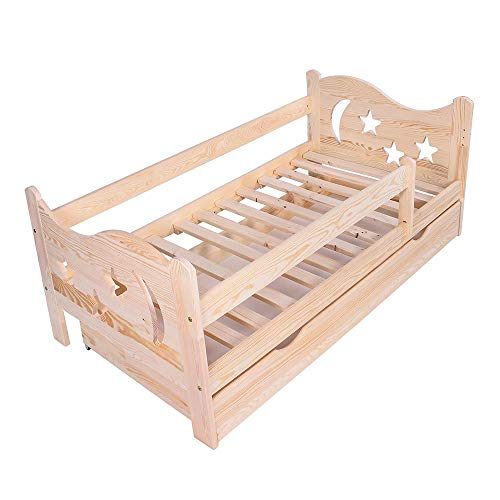 KAGU Cama infantil Chrisi con protección anticaídas, cama juvenil de madera con cajón (140 x 70 cm), color natural