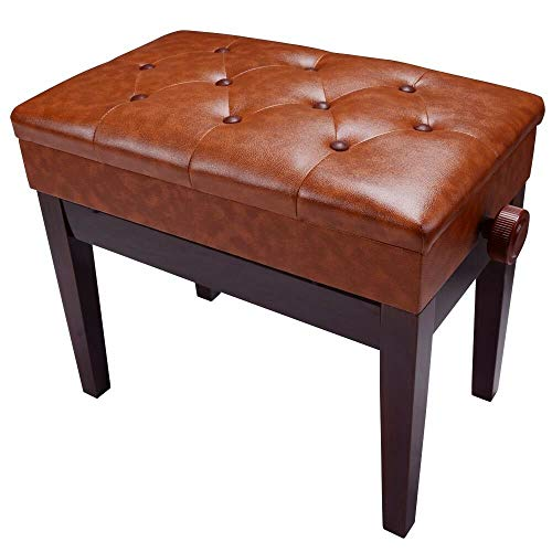 Best Deals! Seleq Brown Wood & PU Leather Adjustable Piano Bench