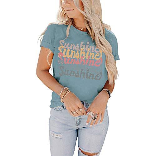 DREAMING-Tops Casuales de Primavera y Verano para Mujer Camiseta Holgada con Cuello Redondo Camiseta de Manga Corta con Cuello Redondo y Estampado de Letras M