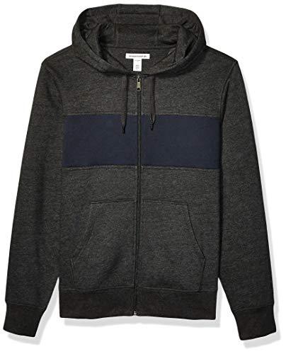 Amazon Essentials Men's Full-Zip Hooded Fleece Sweatshirt, Charcoal Heather/Navy Stripe Medium