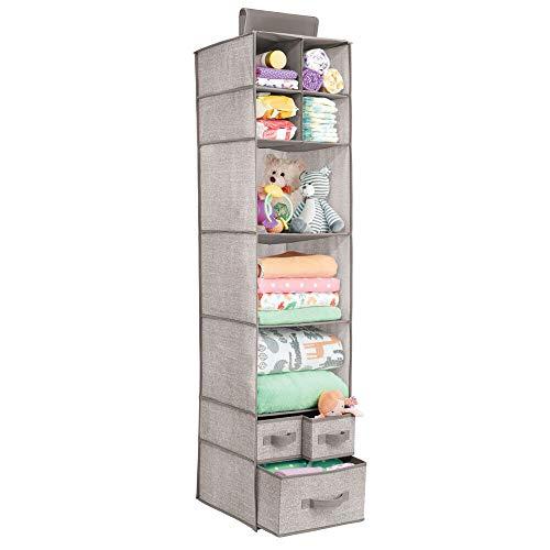 mDesign ripiani per armadi – per organizzare guardaroba facilmente – guardaroba perfetto sempre – portaoggetti per accessori neonato – 7 ripiani e 3 cassetti – colore: lino