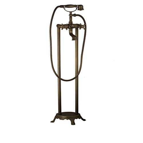 Stand Badewanne Wasserhahn, Freistehende Badewanne Wasserhahn Dual Funktion Vintage Messing Mit Handbrause,Brass