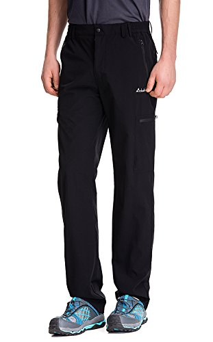 Clothin Men's Elastic-Waist Travel Pant Stretchy Lightweight Cargo Pant Quick Dry Breathable(Black L-32)