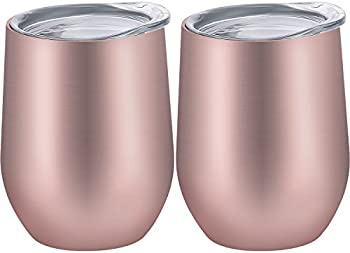 2-Pieces Skylety 12 oz Insulated Wine Tumbler with Lid