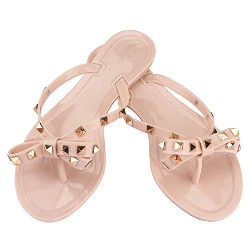 Damen Flip-Flops mit Nieten beugen Flache Sandalen Strandschuhe