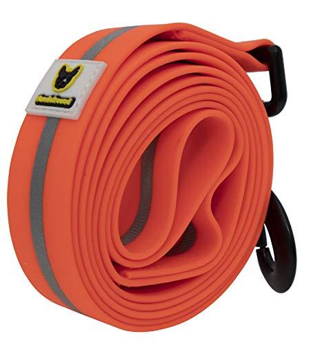 Hundefreund Weiche Hundeleine 150 cm - Sichere Leine für alle Hunde Neon Leuchtend (Orange) - Bissfest Reißfest Komfortabel Pflegeleicht Reflektierend