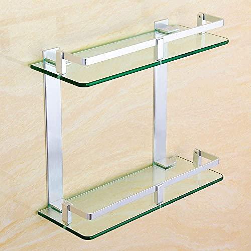 MERCB Estante de cristal para baño de 2 capas de vidrio templado Estantes montado en la pared espacio aluminio champú jabón titular elegante accesorios de baño para almacenamiento de baño