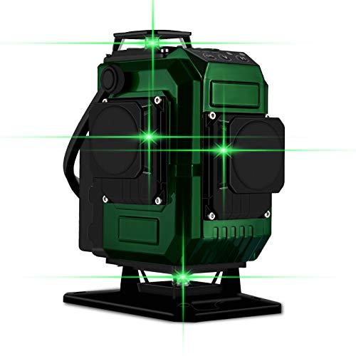 Kreuzlinienlaser 25M, Careslong 4 x 360 grüner Laserpegel selbstausgleichende, grüner Strahl 4D 16 Linien, IP 54 Selbstnivellierende Vertikale und Horizontale Linie (inklusive 2pcs Batterie)