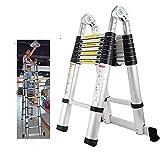 BWHTY Escalera de extensión 5M Escalera telescópica en Forma de A Aluminio Portátil Plegable Multiuso Escalera de 16 escalones para Oficina en casa Interior Exterior Bricolaje 150 kg Cap