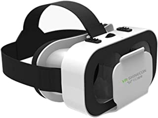 Portable 4.7-6inch Mobile Phone VR Glasses Box Movie 3D Goggles Headset Helmet (Color : White)