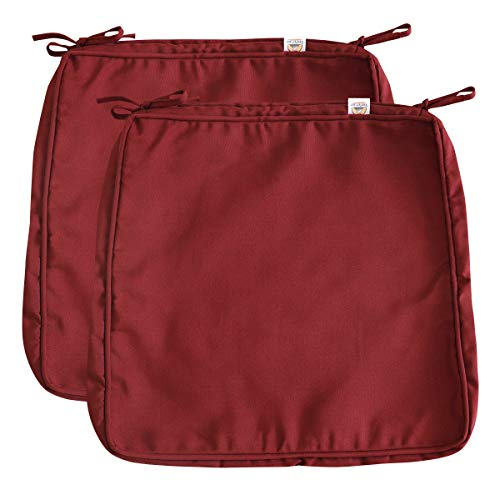 Vanteriam Outdoor Solid Waterproof Patio Chair Seat Cushion Cover with Piping, Large 19''x20''x2'' Washable Replacement Covers Only, 2 Pack Maroon