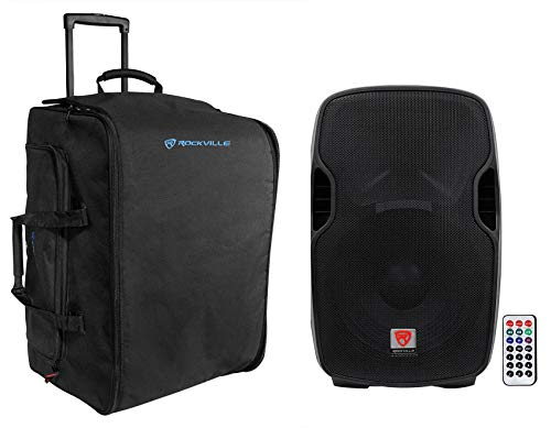 """Rockville BPA15 15"""" Professional Powered Active 800w DJ PA Speaker w Bluetooth Bundle with Rockville SB15 Rolling Travel Bag For Most 15"""" DJ PA Speakers w/Handle & Wheels"""