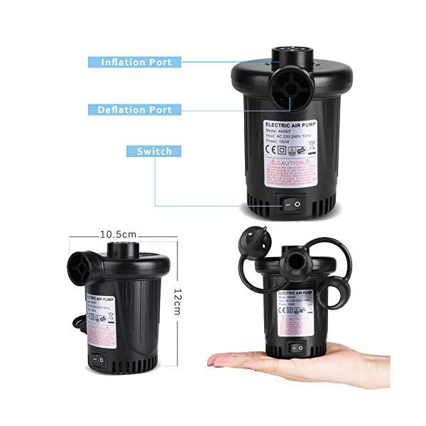 Deeplee Bomba de Aire Eléctrica, Inflador Eléctrico 150W de Alta Potencia Colchones Inflables/deflactor para Piscinas… 2
