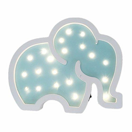 MJTP Süß Elefant Hölzern Lampen Nacht Lichter Stimmungsnächte Kinder Baby Weich Beleuchtung Kinderzimmer Dekorationen (Blau)