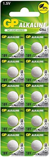 GP Batterien Alkaline Knopfzellen LR54 10 Stück (V10GA, 189, 89, LR1130) 1,5V (1,5 Volt Spannung)