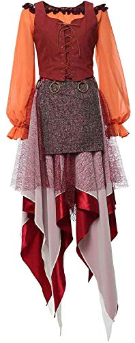 Topsun Adult Womens Mary Sanderson Costume Dress Halloween Cosplay Long Sleeve Shirts Vest Dress Outfits Full Set (XXX-Large, Mary Sanderson)