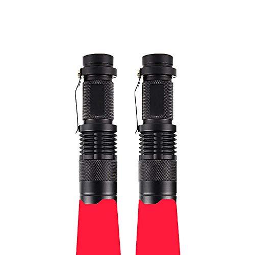 Linterna Roja, WESLITE Linterna con Luz Roja Linternas de Señal Linternas LED Roja con Zoom & Clip 3 Modos para Astronomía, Observación de Estrellas, Visión Nocturna (2 Paquetes)