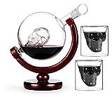 SYZHIWUJIA Set di Decanter con 2 Bicchieri da Cranio, Bella Base in Legno e Tazza Testa di Cranio, 360 Gradi Girevole, per Scotch e Vodka girato Vetro 850ml Decanter